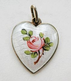 Vintage Sterling Enamel Norway Ivar Holt Guilloche Heart Charm Rose from quick-red-fox on Ruby Lane