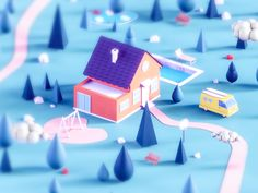 Dream house by Nermin Muminovic on Dribbble Isometric Art, Isometric Design, 3d Design, Game Design, Dream House Drawing, Polygon Modeling, Modelos 3d, Low Poly Models, 3d Home