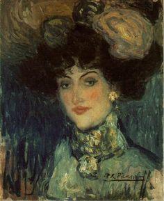 Pablo Picasso, 1901 Femme au chapeau à plumes