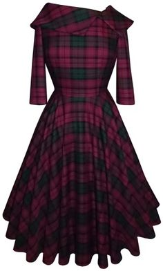 Polka Dot Polly dress in tartan Vestidos Vintage, Vintage Dresses, Vintage Outfits, Vintage Fashion, Pretty Dresses, Beautiful Dresses, Modest Fashion, Fashion Dresses, Tartan Dress