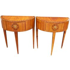 Pair of Italian Neoclassical Style Inlaid Demilune Tables or Consoles   From a unique collection of antique and modern side tables at http://www.1stdibs.com/furniture/tables/side-tables/