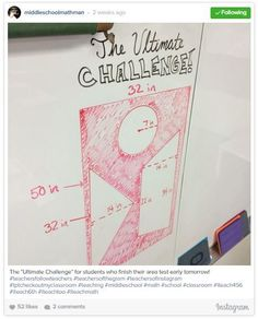 A great list Math Teachers on Instagram. Here is Middle School Math Man's famous whiteboard.