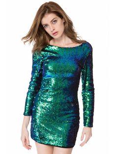 Sequins Long Sleeve Bodycon Dress - GREEN XL