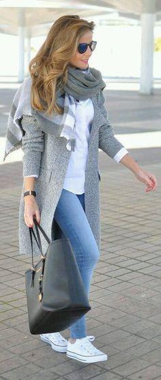 #fall #outfits women's gray shawl
