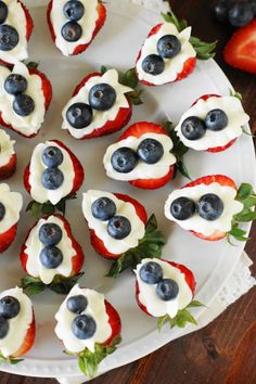 Red White & Blue Strawberry Cheesecake Bites