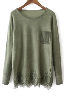 Lace Hem Patchwork Pocket Sweater