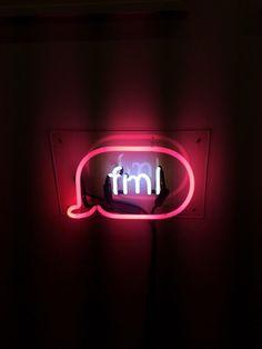black, fml, grunge, light, neon, neon sign, red, sign, text