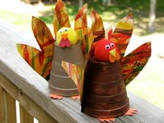 Paper Cup Turkey - Thanksgiving Crafts by Kaboose
