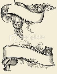 Designed by a hand engraver. Highly detailed engraving design of a… Ribbon and Scroll Royalty Free Stock Vector Art Illustration diseños de tatuajes Kunst Tattoos, Tattoo Drawings, Art Drawings, Tattoo Art, Drawing Designs, Diy Tattoo, Scroll Tattoos, Molduras Vintage, Schrift Tattoos