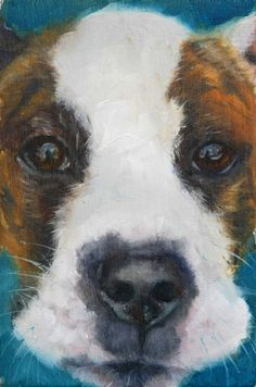 Cute White and Brown Brindled Pit Bull Mix   original by hartart13, $175.00