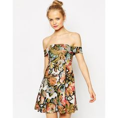 ASOS Bardot Dress in Pretty Floral Print (55 AUD) ❤ liked on Polyvore