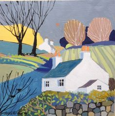 Signed Original Painting Acrylic on Canvas Springtime Cottage- Annabel Burton