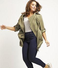 New Look Inspire Krótki płaszcz dark khaki