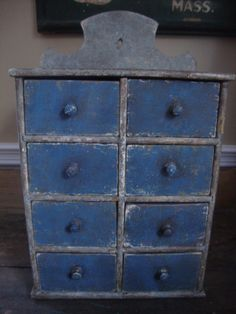 Blue Painted Spice Cabinet Chest Apothecary    sold  ebay   850.00.     ~♥~