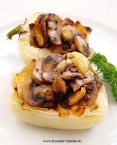 Ardei umpluti cu ciuperci si o provocare in finala Ispitei culinare Romanian Food, Romanian Recipes, My Recipes, Lunch, Vegan, Chicken, Cooking, Food Food, Eat Lunch