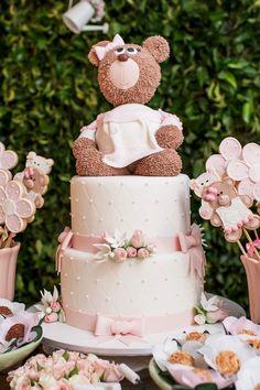 Festa infantil: jardim das ursas Baby Cakes, Baby Shower Cakes, Baby Shower Oso, Bebe Shower, Teddy Bear Baby Shower, Baby Shower Brunch, Girl Shower, Girl Decor, Cake Boss