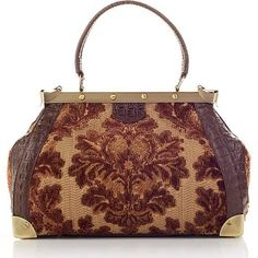 "Sharif ""Versailles"" Tapestry And Leather Frame Satchel"