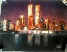 New York La Nuit by Victor Spahn-Serigraph on archival paper-NYC Skyline-WTC in Art | eBay