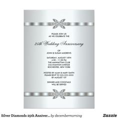 20 great 25th wedding anniversary invitation wording ideas 25 silver diamonds 25th anniversary party card filmwisefo Image collections