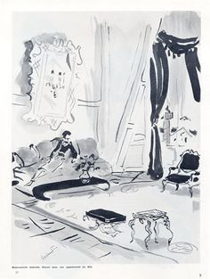 Coco Chanel in the Hôtel Ritz, 1937.  Drawing by Christian Berard.