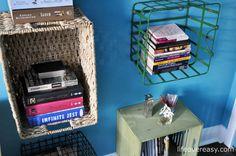Use #Storage #Baskets To Make A #Bookshelf Wall via http://lifeovereasy.com/ #DIY