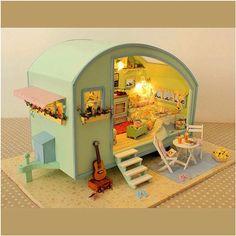 Miniatur-DIY-Puppenhaus-Puppenstube-Puppenmoebel-LED-Musik-Holz-Voice-Control-Neu
