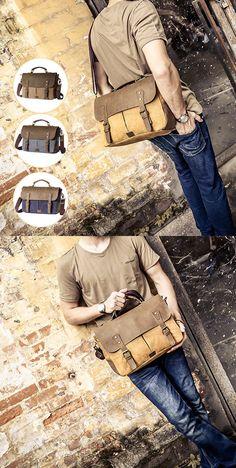 US$30.91 Vintage Canvas Message Bag_Patchwork Sling Bag_Crossbody Bag For Men