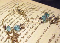 Handmade earrings with stars and swarovski bi-cone beads MyDaniMonster Handmade Jewelry