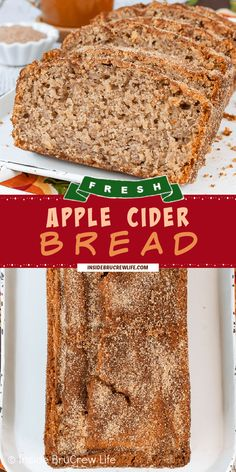 Apple Cider Bread - fresh apples, apple cider, and apple pie spice make this sweet bread taste amazing. Make this apple bread recipe for breakfast or brunch this fall. Apple Recipes, Pumpkin Recipes, Fall Recipes, Sweet Recipes, Breakfast Bread Recipes, Breakfast Bake, Apple Bread, Fresh Apples, Dessert Bread
