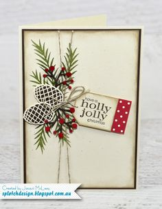Splotch Design - Jacquii McLeay - Stampin Up - Christmas Pines Card