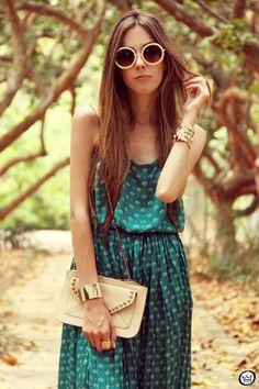 FashionCoolture 30/12/2012 Antix pattern green summer dress Kafé bracelets (7)