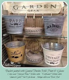 General Finishes Milk Paint & Glaze Effects Painted Galvanized Metal Buckets-re use all those citronella candle buckets Painting Galvanized Metal, Galvanized Decor, Galvanized Buckets, Metal Buckets, Country Decor, Farmhouse Decor, Painted Furniture, Diy Furniture, Shabby Chic