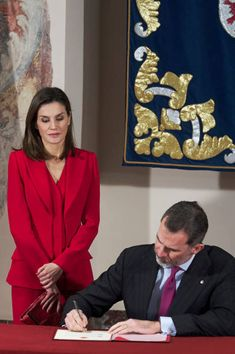King Felipe VI of Spain and Queen Letizia of Spain attend The Commemoration of Capitulations of Valladolid at the Miguel Delibes Cultural Center on...