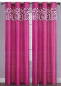 Window Curtain Panels Faux Silk Zebra Flocking by LuxuryHomeLLC