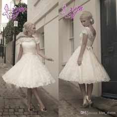 Wholesale Wedding Dresses - Buy 2014 Hot Sales Lace Vintage Short Wedding Dresses Jewel Short Sleeve Removable Sash Knee Length Bridal Gowns Custom Made, $68.07   DHgate