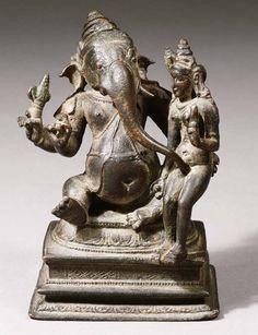"hinducosmos: "" Mahaganapati with Shakti centurya Chola dynasty, South india, Bronze figure. "" Mahā Gaṇapati with Siddhī Century Chola Bronze Thanjavur region Indian Gods, Indian Art, Chola Dynasty, Chalukya Dynasty, Asian Sculptures, Apocalypse Art, Kali Goddess, Hindu Art, Sacred Art"