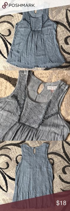 Knox Rose Tank Top Front lace bib detail  Gauzy material  Gray with hints of blue/green Knox Rose Tops Tank Tops