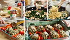 Chicken & Quinoa Stuffed Peppers — These delicious cheese-topped stuffed red peppers get flavor, texture, and fiber goodness from a tasty combination of quinoa, spinach, and creamy mushroom soup.