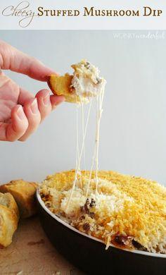 Stuffed Mushroom Cheesy Dip Recipe - wonkywonderful.com. ☀CQ #party #appetizers #recipes