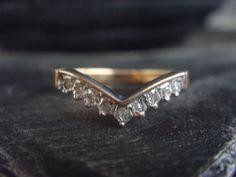 Vintage Art Deco Diamond Ring Diamond Wedding Band by JennKoDesign