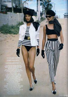 Vogue (UK) May 1990 | Linda Evangelista & Christy Turlington by Patrick Demarchelier