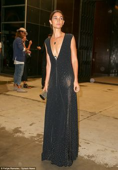 Dare to bare: Lily Aldridge flaunted her supermodel figure in a daringly low-cut dress to The Daily Front Row's Annual Fashion Media Awards in New York City on Thursday night Daily Front Row, Star Fashion, Womens Fashion, Low Cut Dresses, Lily Aldridge, Supermodels, Celebrity Style, Awards, Autumn Fashion