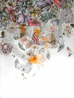 GIULIA RONCHETTI — WAITING FOR OPHELIA - mixed media on watercolor...
