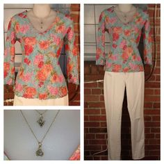 Pò light blue multi colour floral print lace top XS $9 (50% off, discount taken at register); Old Navy white sweetheart skinny jeans, distressed, four pockets, 2 $10; charm necklaces, more to choose from $8 each