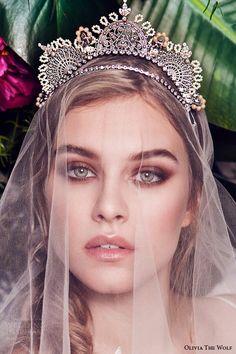 olivia the wolf headpieces 2016 bridal accessories delphine boho tiara gorgeous wedding hair piece veil kokoshnik Russian empire inspired