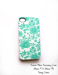 SALE Cell Phone Accessory Case for iPhone 4 and 4S model - Sweet Mint Original Artwork. $13.00, via Etsy.