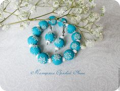 Купить Комплект украшений. Цветочная филигрань - голубой, голубой комплект, голубой цвет, комплект украшений