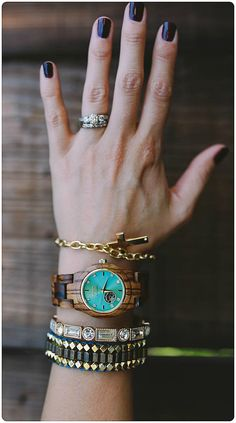 Stacks on stacks... | Photo and styling by @2blondemamas of IG | Find the watch, our automatic Cora series in Zebrawood & Turquoise, at woodwatches.com - free shipping worldwide!
