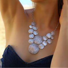 Elegant Antique Silver Vintage Chunky Bohemian Statement Collar Retro Necklace #Takimania #Charm