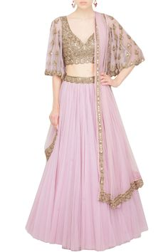Rose pink lehenga and bell sleeves blouse set